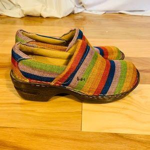 BOC peggy clogs in rainbow stripes. 7.5